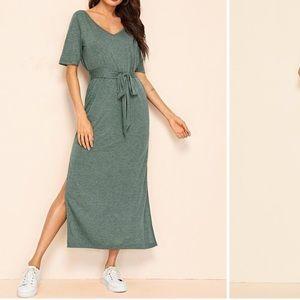 Shein V- neck M-slit Hem Belted T-shirt Dress